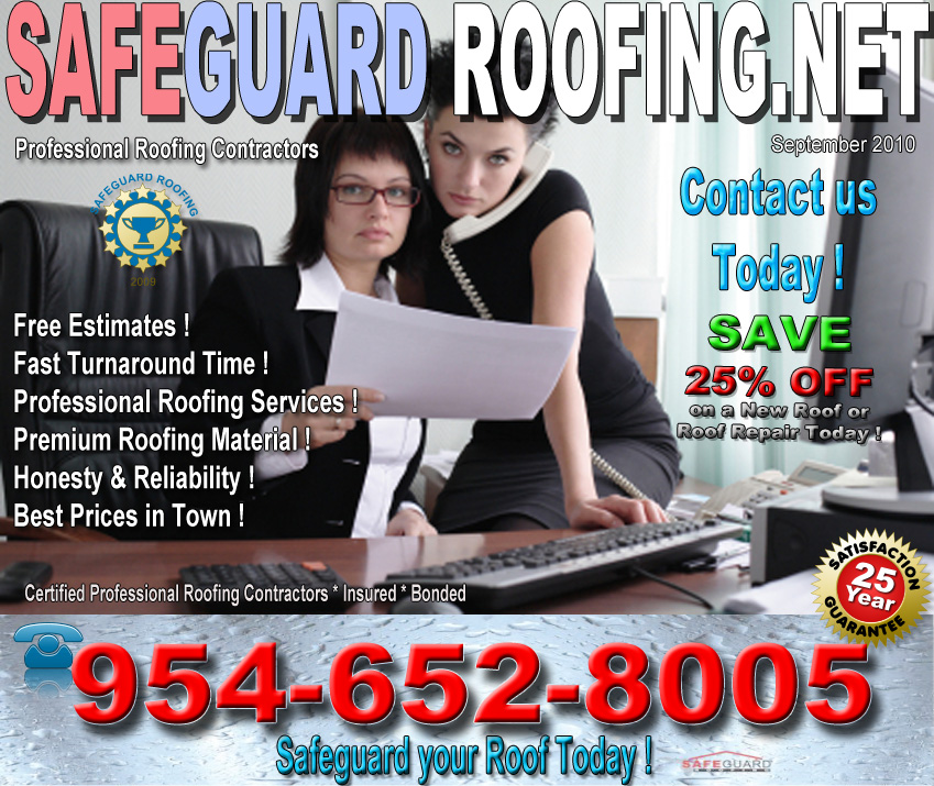 Roofing Contractors in Florida. Safeguard Roofing Staff at work Besting any Price in Town. Certified Professional Roofing Contractor Company, Insured, Bonded. Roofing Services and Roofing Repairs for Commercial Offices and Residential Homes.  Get your Roof Safe today with Safeguard Roofing.net